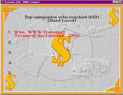 Click for a Large Picture - Transport Tycoon High Score List